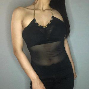 (NEW) GUESS black halter top w gold chain detail